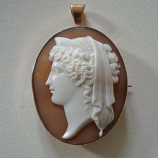 Antique Victorian 9k Gold Goddess Hera Carved Shell Cameo Brooch / Pendant, Signed