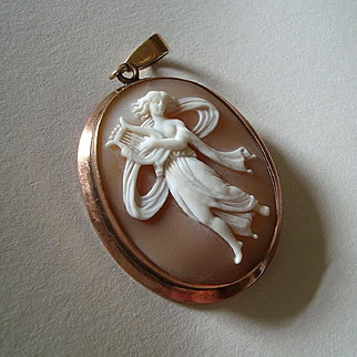 Victorian 9k Gold Carved Shell Cameo Pendant of Classical Dancer or Bacchante with Kithara / Lyre