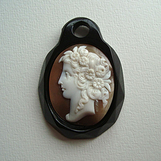 Victorian Whitby Jet and Carved Shell Cameo Pendant - Goddess Flora