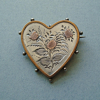 Victorian 1884 Sterling Silver and Rose Gold Heart Brooch with Flowers