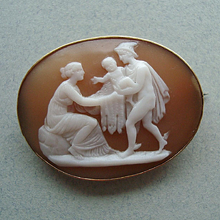 Early Nineteenth Century Carved Shell Cameo 14k Gold Brooch, Mercury bringing Baby Bacchus to Ino