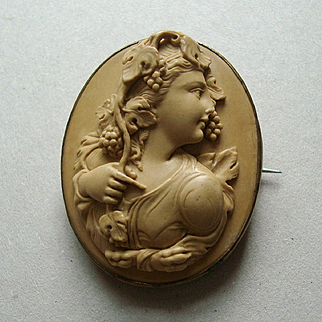 Victorian High Relief Lava Cameo Brooch of a Bacchante or Maenad