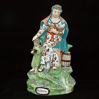 19th Century Staffordshire Group Figure of the Widow of Zarephath & Her Son