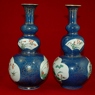 Pair of Chinese Triple Gourd Porcelain Vases with Powder Blue Enamel and Famille Verte Decoration