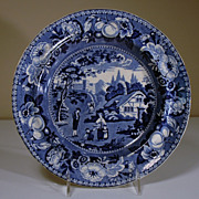 19th Century Blue Transfer Plate in the Fruit and Flower Border Series