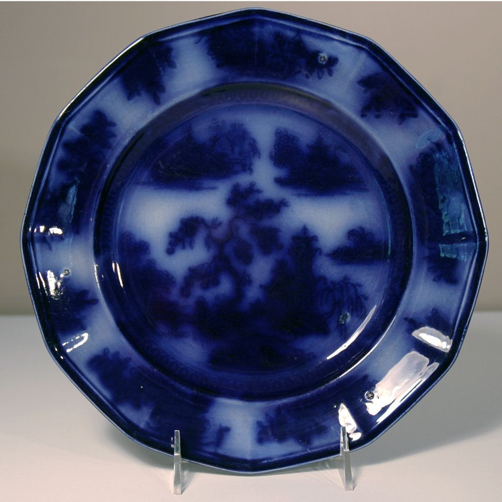 Th century flow blue plate in the quot chapoo pattern from