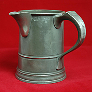 "19th Century English Pewter One-Quart Tankard with Side Spout, ""Ewe & Lamb"""
