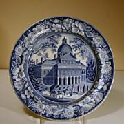 19th Century Staffordshire Plate in Medium Blue Transfer, Boston State House