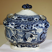 """19th Century Staffordshire Covered Sugar Bowl """"Lady of the Lake"""" Pattern"""