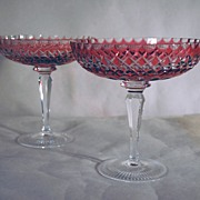 Two Open Footed Compotes in Flashed Cranberry Glass Cut-to-Clear