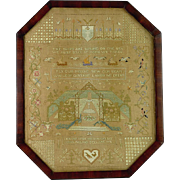 Rare Antique Sampler - Peacocks & Ships   C. 19th Century