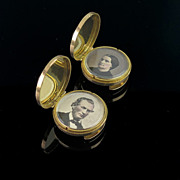 Antique Circa 1890 Tested 9K Gold Locket Stud/ Buttons/ Cufflinks