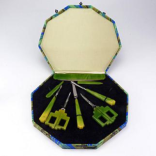 Magnificent Art Deco Bakelite Dresser Manicure Set