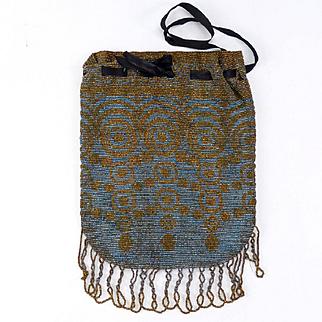 Beautiful French Steel Beaded Art Deco Purse/Handbag