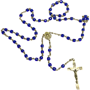 Vintage Cobalt Glass and Sterling Rosary