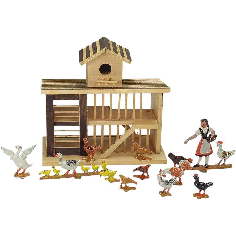 Vintage Chicken Coop Farm Toy Charles Morrell From