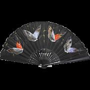 Vintage Handpainted Silk Butterfly Fan
