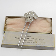 Antique Aluminum Hair Comb IOB
