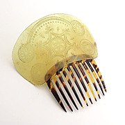 Antique Horn Topped Hair Comb with Fancy Decoration