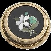 Antique Pietra Dura Stud Button Circa 1890