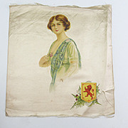 Vintage Silk Print Textile of a Lady with a Coat of Arms