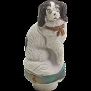 Vintage Bisque Japanese Spaniel Dog Bottle Stopper