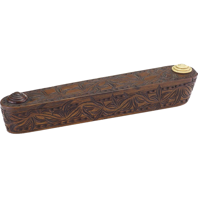 Antique circa carved wooden pencil box sold on ruby lane