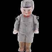 Vintage 3 Inch All Bisque Soldier Doll