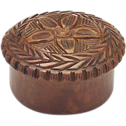19th Century Small Carved Treen Tiny Container