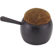 Vintage Wooden (Treen) Pot Shaped Pincushion