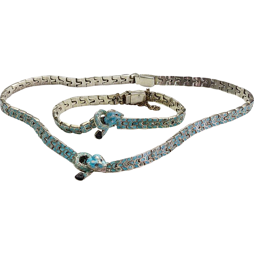Rare vintage mexican silver and enamel snake bracelet and for Vancouver island jewelry designers