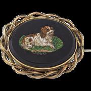 Antique Micro Mosaic King Charles Spaniel Brooch