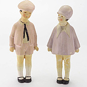 Pair of Antique German  All Bisque Dolls
