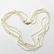 Vintage Four Strand Freshwater Pearl Necklace