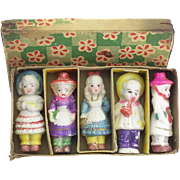 Set of Japanese All Bisque Miniature Dolls IOB
