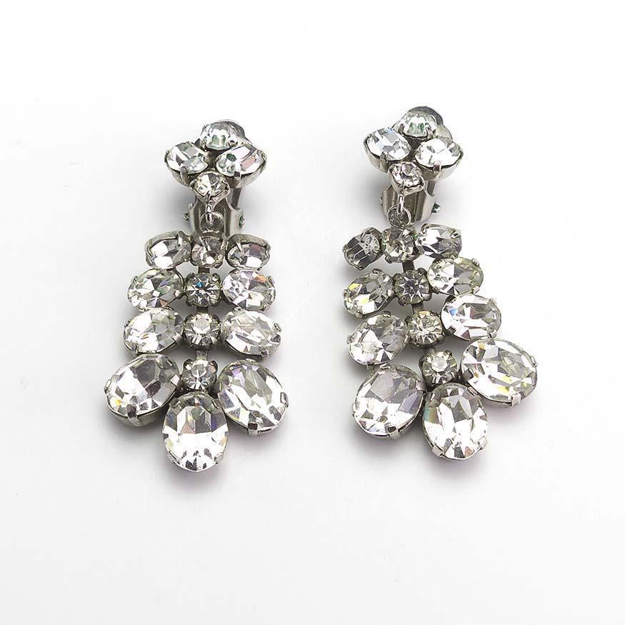 pair of vintage rhinestone chandelier earrings from