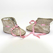 Pair of Vintage White Leather Doll Shoes