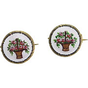 Pair of Vintage Tiny Enamel Brooches