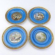 Set of 4 Very Decorative Small Pratt Plates