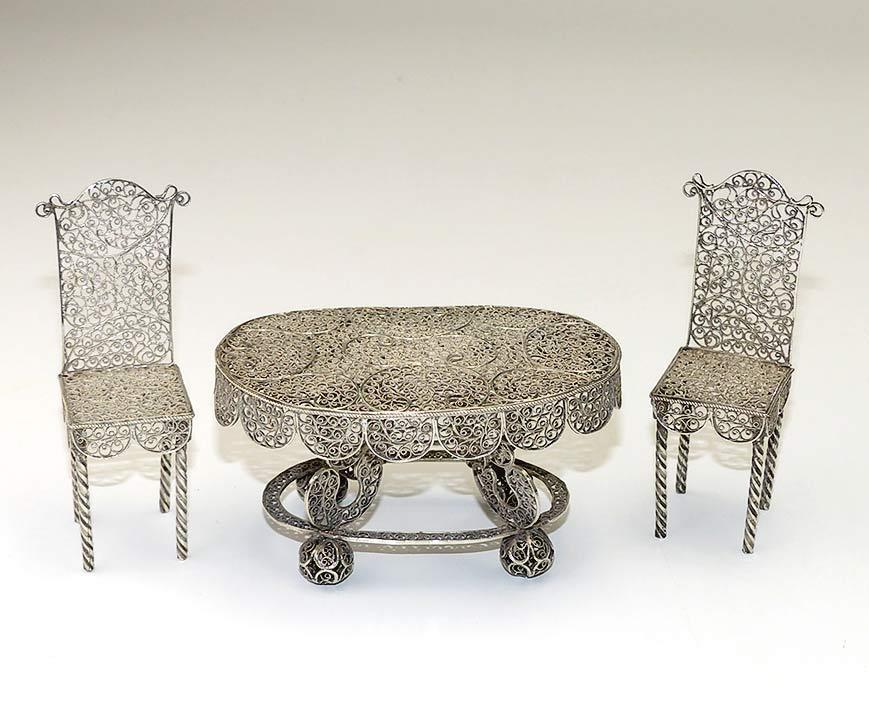 Elaborate Antique Silver Filigree Doll House Table and Chairs. Elaborate Antique Silver Filigree Doll House Table and Chairs from