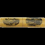 Antique Mauchline Ware Two Image Needle Case