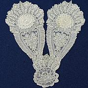 19th Century  Hand Made Point de Gaz Bobbin Lace Jabot