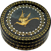 Antique Pique Inlaid Gold and Silver Table Snuff Box