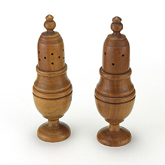 Antique Treen Salt and Pepper Shakers
