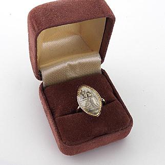 Antique Sepia Painted Memorial Ring 1788