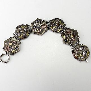 Antique Shakudo Mixed Metal Bracelet with Unusual Images