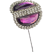 Vintage Huge Amethyst Glass Hat Pin