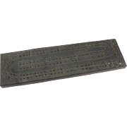 Vintage  Soapstone Cribbage Board Signed