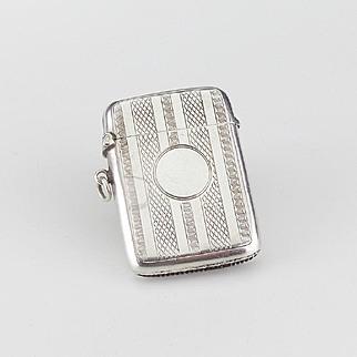Silver Vesta Case or Match Safe Birmingham 1909