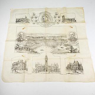 Vintage Handkerchief of Queen Victoria and Victorian Landmarks